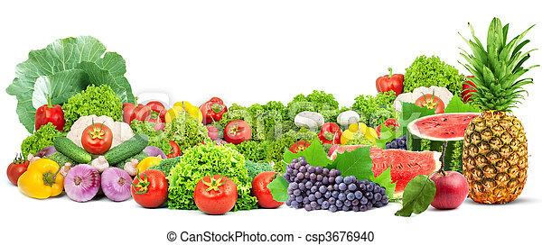 zdrowy, świeża zielenina, barwny, owoce - csp3676940