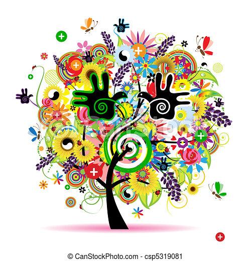 zdrowy, energia, drzewo, projektować, ziołowy, twój - csp5319081