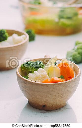 zdrowy, fotografia, jadło., studio, roślina, mix. - csp58647559
