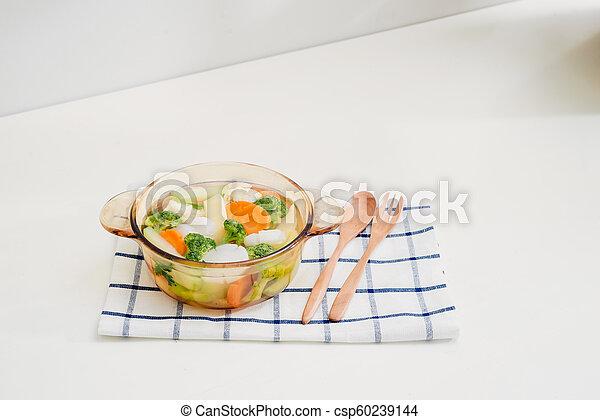 zdrowy, fotografia, jadło., studio, roślina, mix. - csp60239144