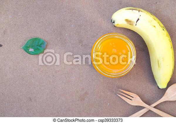 zdrowy, sok, jadło, banan, pomarańcza - csp39333373