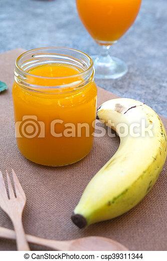 zdrowy, sok, jadło, banan, pomarańcza - csp39311344