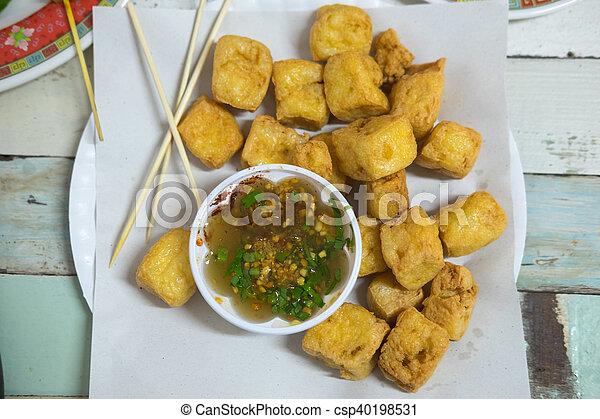 zdrowy, tofu, smażył, -, jadło - csp40198531
