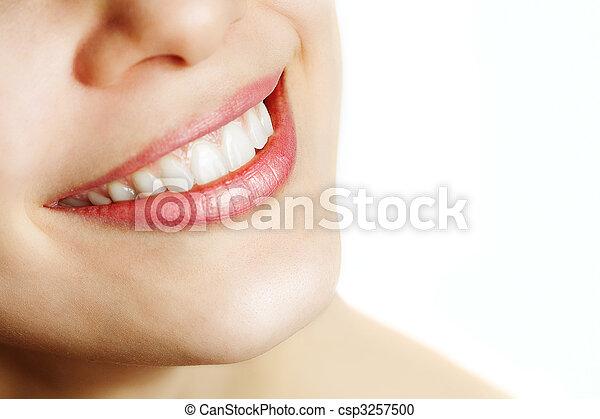 zdrowy, uśmiech, kobieta, świeży, zęby - csp3257500