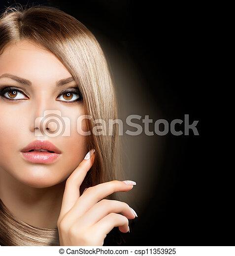 zdrowy, włosy, dziewczyna, długi, piękno - csp11353925