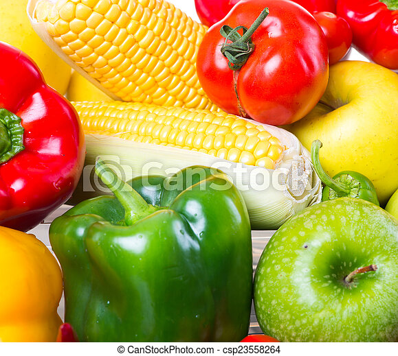zdrowy, warzywa, białe tło, owoce - csp23558264