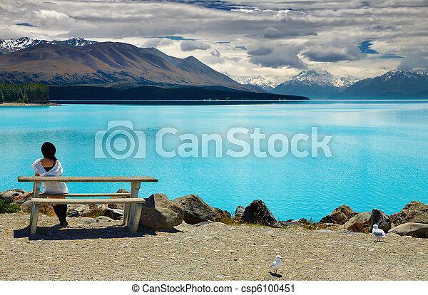 zealand, monte, lago pukaki, nuevo, cocinero - csp6100451