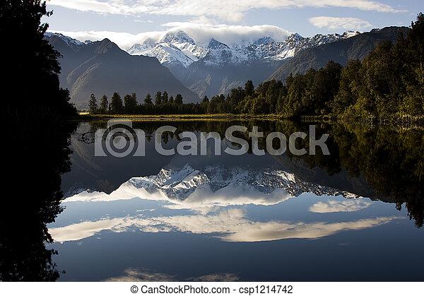 zealand, nuevo, -, lago, espejo - csp1214742