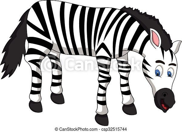 Carino pieno colorare zebra cartone animato.