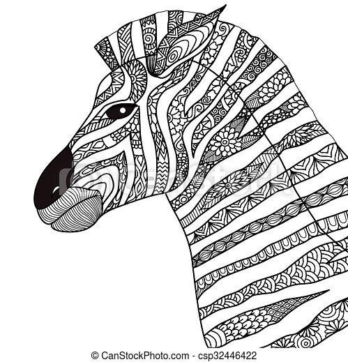 Zebra coloring book. Zebra line art design for coloring book ...