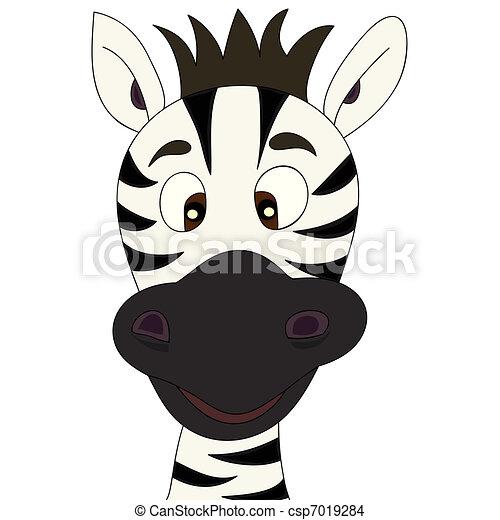 zebra, dessin animé - csp7019284