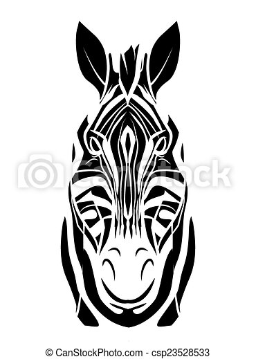 Zebra head tattoo - csp23528533