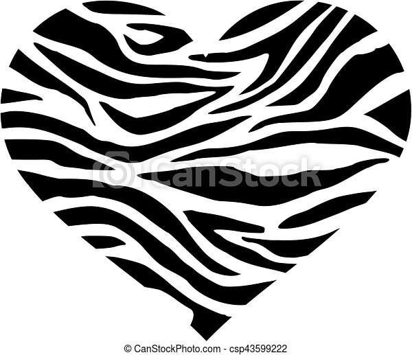 Zebra heart with pattern in two colors.