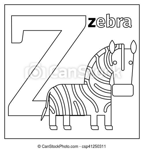 Zebra, letter z coloring page. Coloring page or card for kids with ...