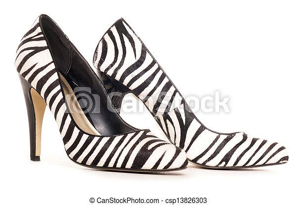 zebra pattern high heel shoes cut out - csp13826303