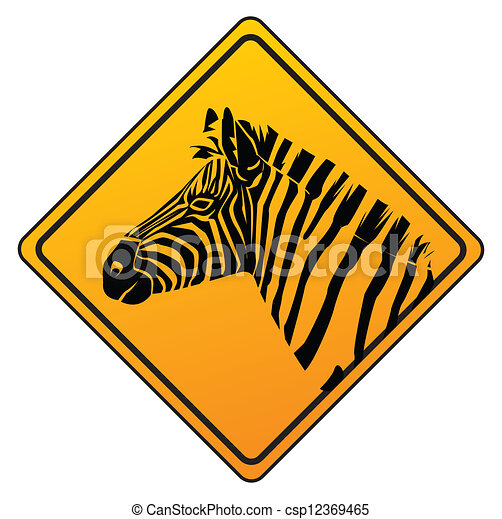 zebra yellow sign - csp12369465
