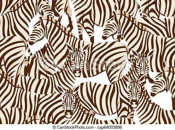 Patrón sin forma con cebras. - csp64003896
