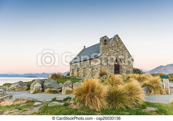 zeeland, tekapo, meer, kerk, nieuw, mooi en gracieus - csp20030136