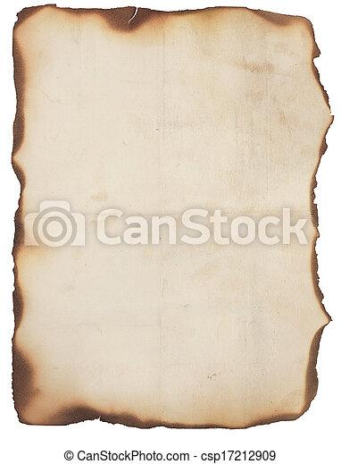 zeer, gebrande, randen, oud, papier - csp17212909
