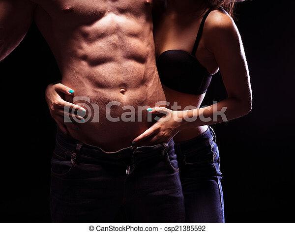 zeer, zes, abs, sexy, mannelijke , troep - csp21385592