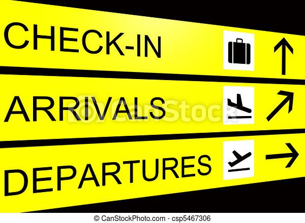 zeichen, abfahrt, flughafen, kontrollieren, ankünfte - csp5467306
