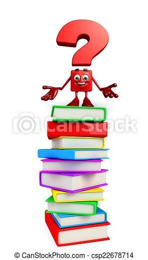 Bücherstapel clipart  Clipart von zeichen, bücherstapel, fragezeichen - Cartoon ...