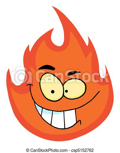 zeichen, grinsen, flamme - csp5152762