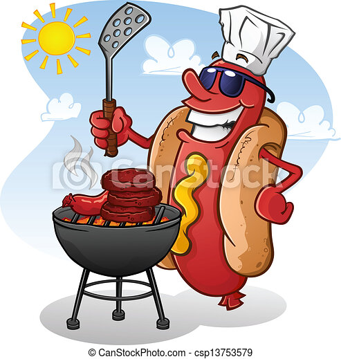 Hot Dog Cartoon Charakter Grilling - csp13753579