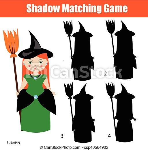 Zeichen, spiel, halloween, thema, hexe, schatten, passend.... Vektor ...