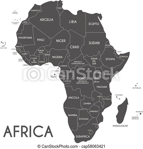 Zeichnen Hintergrund Politisch Afrikas Freigestellt Abbildung