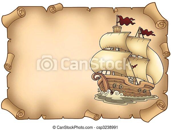zeilboot, oud, perkament - csp3238991