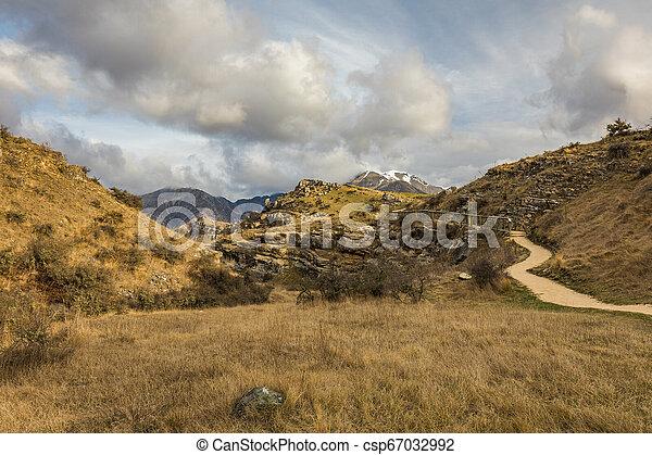 zelândia, ilha, fluxo, panorâmico, caverna, durante, novo, pôr do sol, sul, reserva - csp67032992