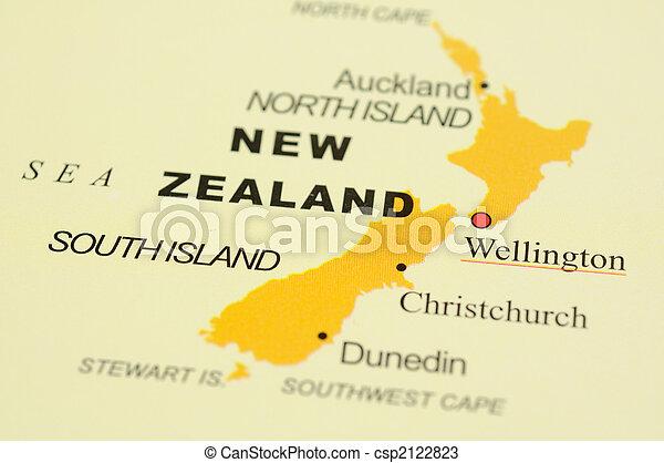 zelândia, novo, mapa - csp2122823