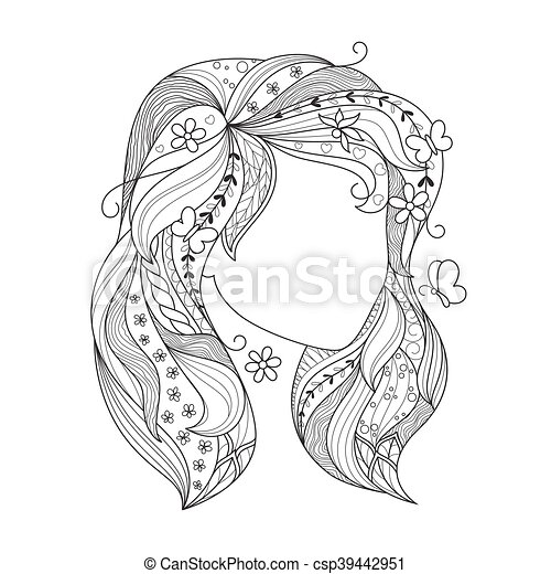 zen art girl  portrait of a female with zentangle hair for