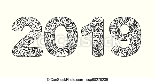 zen doodle patterned number 2019 small csp60278239
