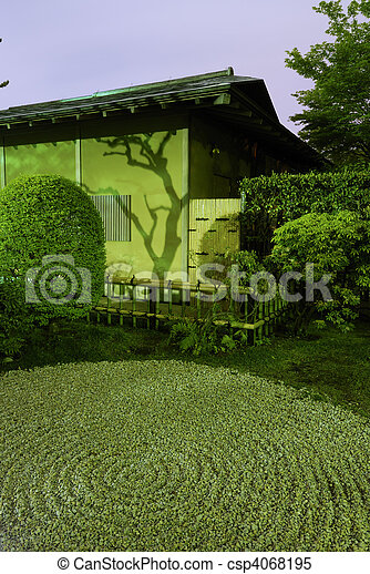 Zen-garden night. Japanese house wall with tree shadow and ...