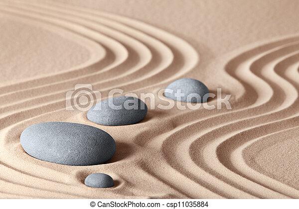 Zen garden stones in row pattern in sand and rocks for pictures zen garden stones csp11035884 workwithnaturefo