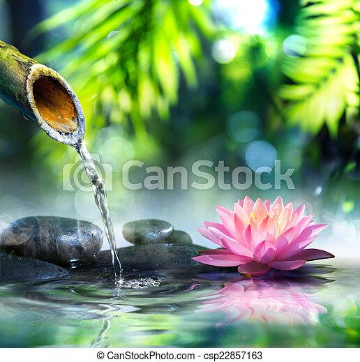 zen garden with black stones - csp22857163