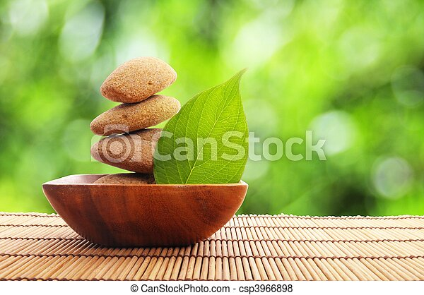 zen, pietra, foglia - csp3966898