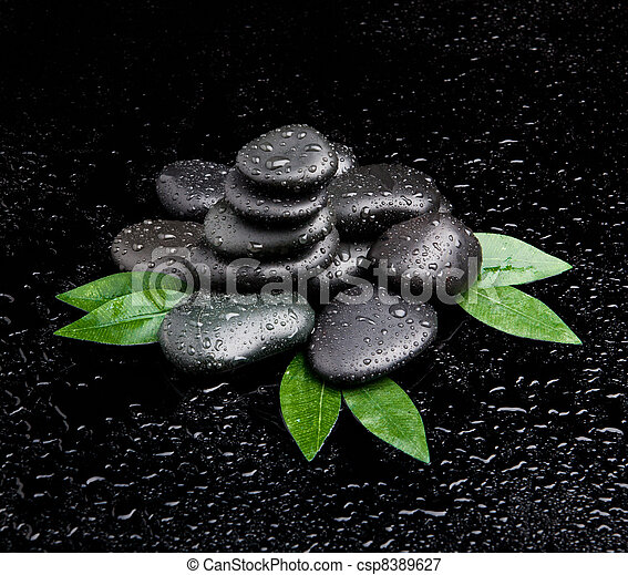zen stones and leaves with water drops.  leaf and basalt stones - csp8389627