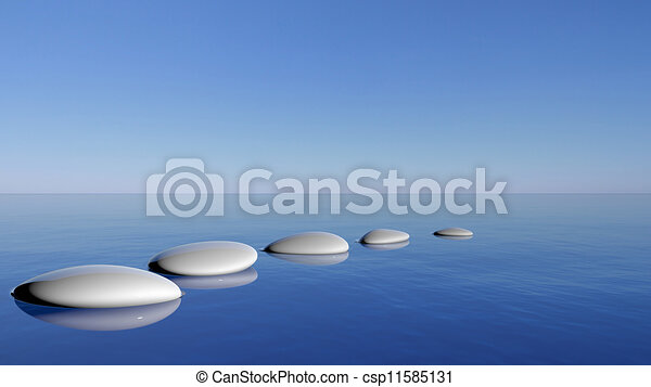 Zen stones in the blue water - csp11585131