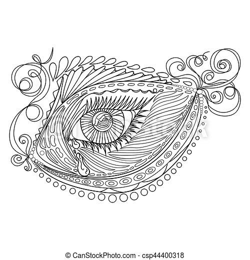 Zen Tangle Stylized Abstract Fish And Eye Isolated On White Background Hand Drawn Sketch For Adult Antistress Coloring Page T Shirt Emblem Logo