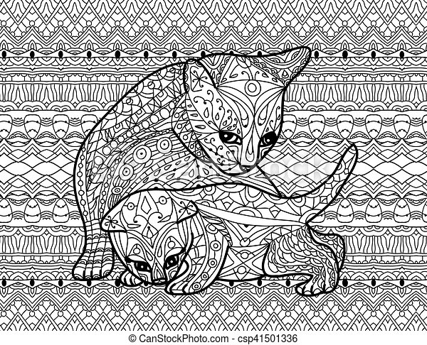 Zendoodle Coloring Book For Adults Mother Cat With Kitten Classy Zendoodle Patterns