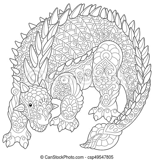 Zentangle Ankylosaurus Dinosaur. Coloring Page Of Ankylosaurus Dinosaur Of  The Cretaceous Period. Freehand Sketch Drawing For CanStock