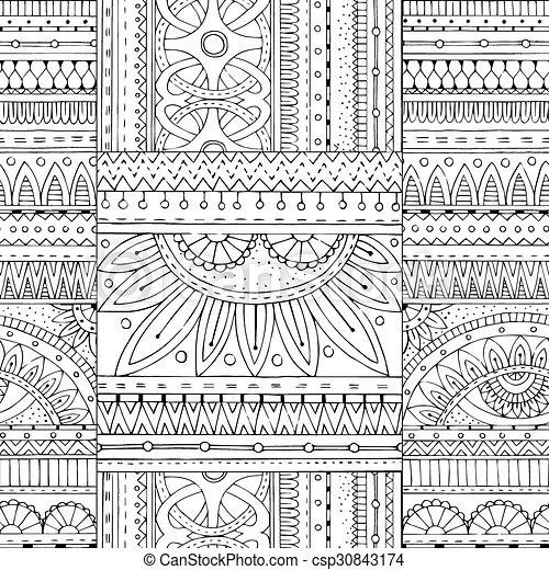 Zentangle background in vector with tribal doodles. seamless vector ethnic pattern can be used for wallpaper, pattern fills, coloring books and pages for ...