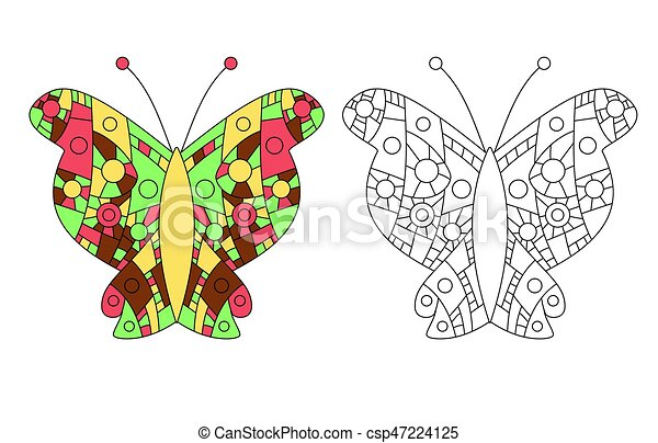 Zentangle Coloring Book Butterfly Vector