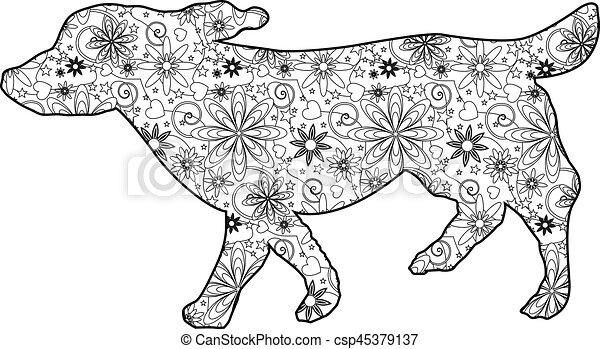 Zentangle dog - csp45379137