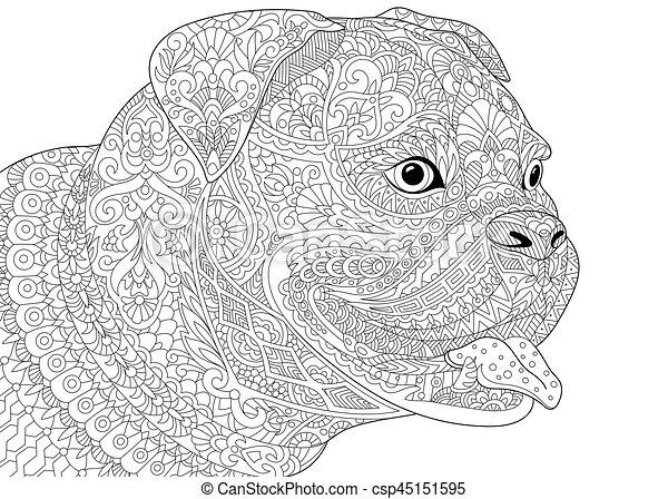 Zentangle german boxer dog - csp45151595