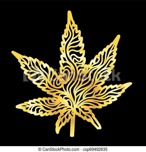 Zentangle Leaf-Gold - csp69492635