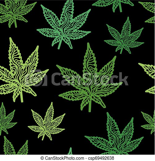 Zentangle Leaf-Green-Seamless - csp69492638